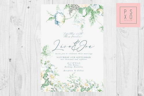 Pretty Little Thing - Blue Floral Wedding Invite
