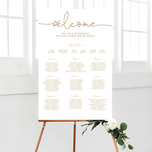 Simple Classy Calligraphy Wedding Table Plan