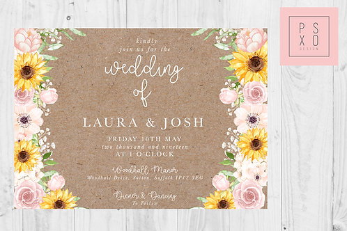 Laura Rustic Blush & Sunflower Themed Wedding Invites