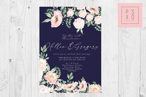 Hollie Blush & Navy Floral Wild Garden Invites