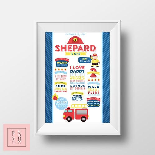 Fire Engine / Fireman Themed First Birthday Chalkboard Poster