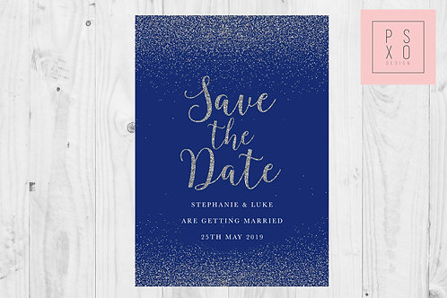 Blue & Silver 'Glitter' Effect Save The Date Magnet