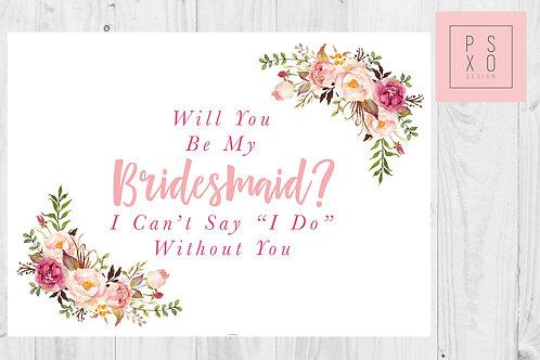 Peach And Blush Floral Wreath Bridesmaid Proposal Card