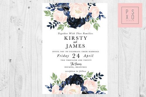 Kirsty Blush & Navy Floral Wedding Invites