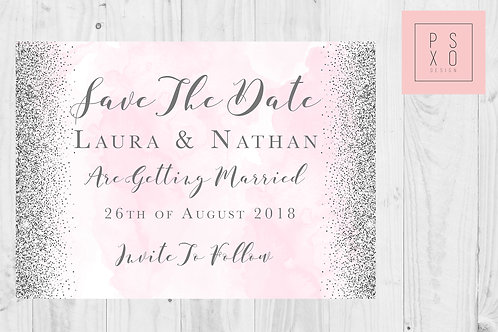Pink Blush Watercolour And Glitter Save The Date Magnets