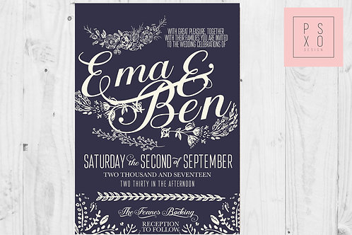 Beautiful Navy & White Floral Calligraphy Themed Wedding Invites