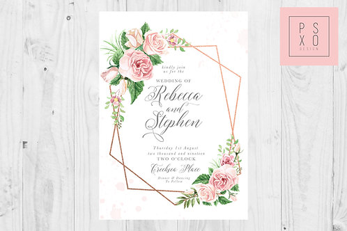 Beautiful Blush Rose Geometric Wedding Invite