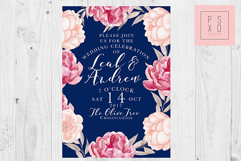 Navy & Pink Peonie Foral Themed Wedding Invites