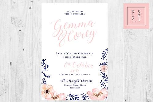 Simple Navy & Blush Floral Wedding Invites