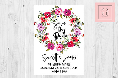 Bright Floral Wreath Save The Date Magnet