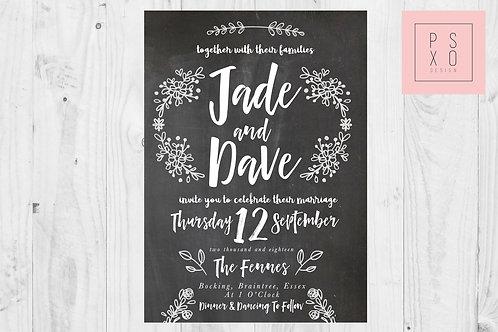 Rustic Shabby Chic Floral Chalkboard Wedding Invites