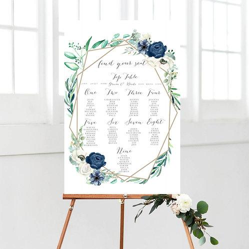 Navy White Marie Foliage Table Plan