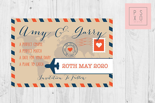 Travel Postcard Themed  Save The Date Magnet