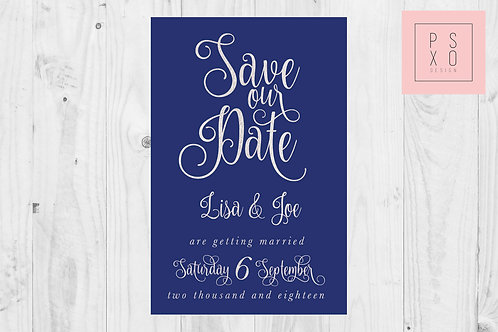Blue & Silver Bold Calligraphy Save The Date Magnet