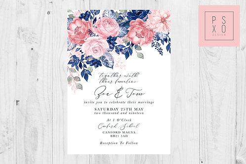 Zoe Navy & Pink Floral Foliage Corner Decoration Wedding Invite