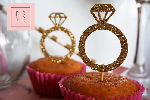 He Put A Ring On It : Cupcake Toppers (Pack Of 10)