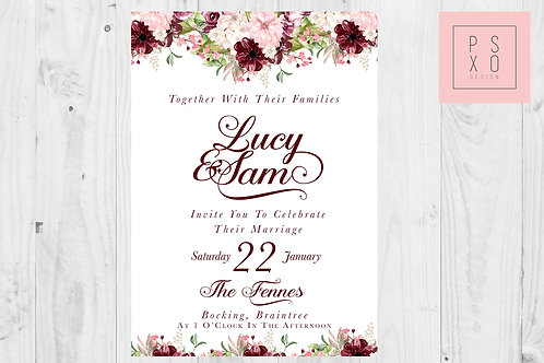 Burgundy And Blush Floral Wedding Invites
