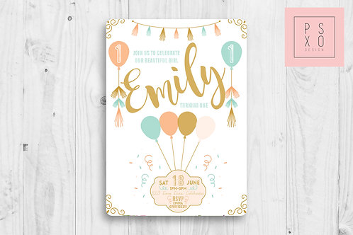 Lovely Coral, Gold & Turquoise Balloon Themed Invite