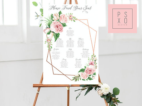 Rose / Blush Rose Geometric Table Plan