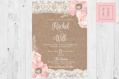 Paige Vintage | Kraft Brown Lace With Blush And Ivory Floral Elements