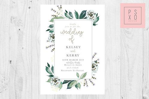 Kelsey Lavender   Foliage Frame, Simple Sweet Frame Wedding Invite