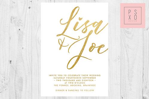 Beautiful Bold Large Calligraphy Wedding Invite