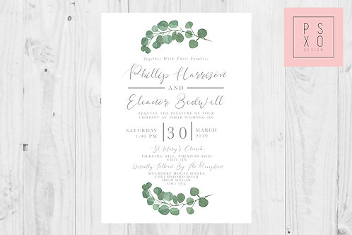 Eleanor Top & Bottom Eucalyptus Botanical Wedding Invite