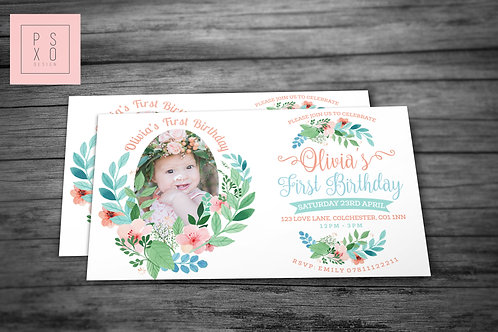 Personalised Photo Wild Watercolour Shabby Chic Floral Invite