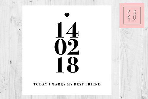Personalised Date Of Wedding Card, To My Groom - Wedding Day Card
