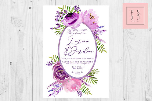 Beautiful Purple Oval Floral & Foliage Frame