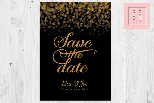 Black And Gold Glitter And Confetti Themed Save The Date Magnets