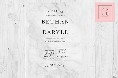 Simple Black And Marble Effect Wedding Invites