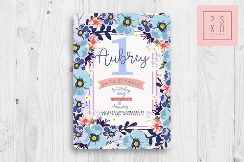 Bright Lilac And Blue Floral Invite