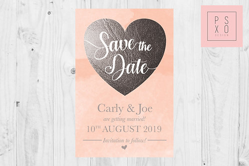 Peach & Silver Faux Foil Save The Date Magnets