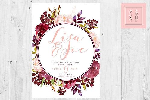 Burgundy And Blush Floral Wreath Wedding Invites