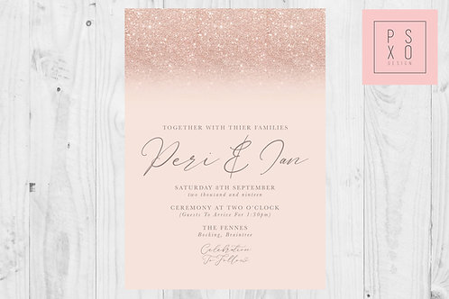 Perri Rose Gold & Blush Glitter Wedding Invite