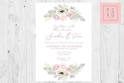 Beautiful Soft Pink Botanical Wedding Invite