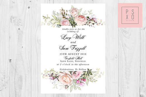 Wild Rose Top & Bottom Wedding Invite