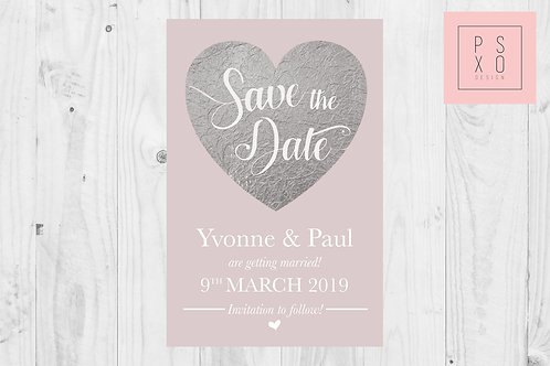 Blush & Silver Faux Foil Save The Date Magnets