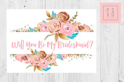 Pink & Gold Themed Bridesmaid Proposal Card