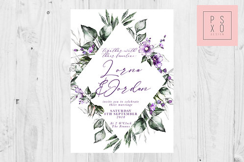 Wild Flowers Purple Diamond Wedding Invite