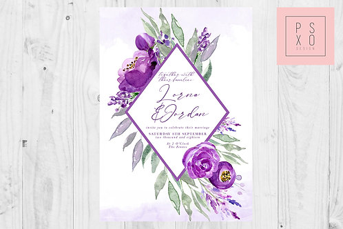 Purple Bright Floral Diamond Foliage Frame