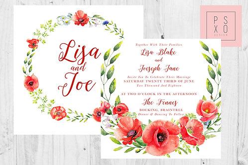 Poppy Wreath Square Wedding Invites