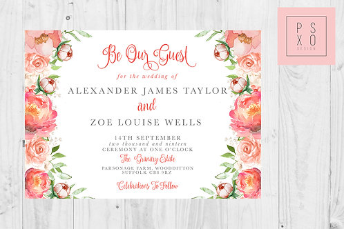 Zoe Monika Coral Floral Wedding Invite
