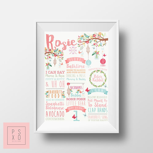 Hippy Floral Themed Black And White First Birthday Chalkboard
