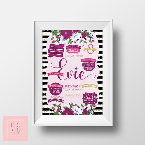 Pink, Purple Floral Themed Black And White First Birthday Chalkboard