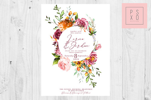 Bright Wild Flower Botanical Circle Wedding Invite