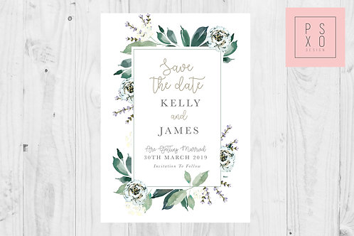 White And Greenery Rectangle Save The Date Magnet