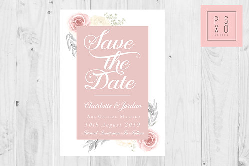 Andrea Range - Beautiful Blush & White Floral Save The Date Magnet
