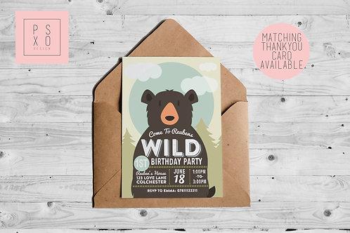 """Wild"" Teddy Bears Picnic Themed Invite"